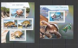 TG476 2014 TOGO TOGOLAISE FAUNA REPTILES MARINE LIFE TURTLES LES TORTUES KB+BL MNH - Schildkröten