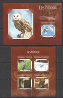 TG525 2014 TOGO TOGOLAISE FAUNA BIRDS OWLS LES HIBOUX KB+BL MNH - Owls