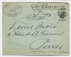 BRAZIL 300 REIS SOLO LETTRE COVER PARA 1901 TO FRANCE VIA LISBOA - Briefe U. Dokumente