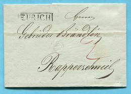 Faltbrief Von Zürich Nach Rapperschweil 1823 - ...-1845 Prephilately