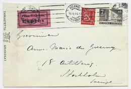FINLAND 7MK+ 2 1/2M LETTRE COVER EXPRES HELSINGKI 10.II.1944 TO SVERIGE + CENSOR - Lettres & Documents