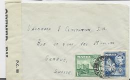MALTA 1D+3D LETTRE COVER VALETTA JY 14 1945 TO HELVETIA SUISSE CENSOR - Malta (...-1964)