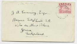 NAURU 1 1/2C SOLO LETTRE COVER 1949 PACIFIC TO HELVETIA SUISSE - Nauru