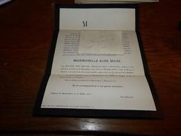 Lettre De Mort  Alice Dolez Bruneau Château De Boetendael Uccle 1874 - Obituary Notices