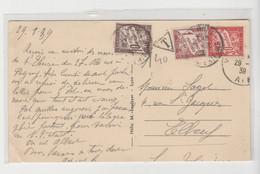 CPA De Meximieux De 1939 Avec Taxe Tricolore à L'Arrivée à Elbeuf - 1859-1955 Storia Postale