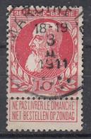 BELGIË - OPB - 1905 - Nr 74 - T4 R (MARCINELLE 1)  - COBA + 8.00 € - 1905 Thick Beard