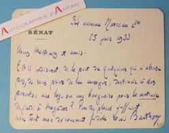 Louis BARTHOU 1933 - Théâtre Baignoire Mogador - Né à Oloron Saint Marie Carte Lettre L.A.S Autographe Sénat - Autographs