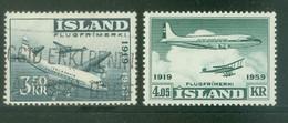 Iceland 1959; Flugfrimerki, Michel 333-334, Used & MNH. - Gebraucht