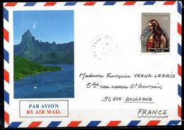 POLYNESIE. N°231 De 1985 Sur Enveloppe Illustrée Ayant Circulé. Visage Polynésien. - Briefe U. Dokumente