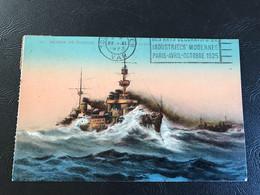 54 - MARINE DE GUERRE - Le Cuirassé «PATRIE» Par Gros Temps - 1923 Timbrée - Warships