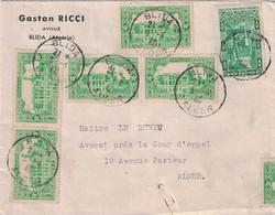 ALGERIE - BLIDA - 3 AVRIL 1940 - SUPERBE AFFRANCHISSEMENT 9 TIMBRES (RECTO-VERSO) - ENTETE GASTON RICCI AVOUE BLIDA. - Briefe U. Dokumente