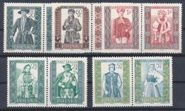 POLEN / POLAND / POLSKA  -  1959  ,  Volkstrachten (I)   -  Michel 1138A-1147A  , 5 Zusammendrucke  MNH / ** - Unused Stamps