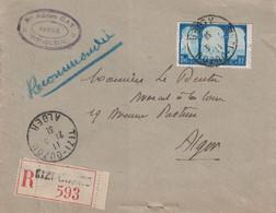 ALGERIE - TIZI-OUZOU - LETTRE RECOMMANDEE POUR ALGER - LE 21-3-1931 - Y&T N°83 SEUL SUR LETTRE. - Lettres & Documents