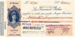 1938 MATELICA MACERATA ASSEGNO BANCA D'ITALIA CON AL VERSO MARCHE DA BOLLO COLONIE ITALIANE - Cheques & Traveler's Cheques
