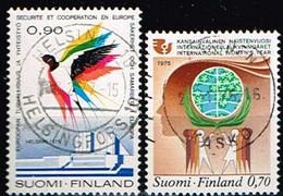 FINLANDE/Oblitérés/Used/1975 - Conférence Sécurité, Année Femme / YVT N°734,738  - MI.N°770,774 - Oblitérés