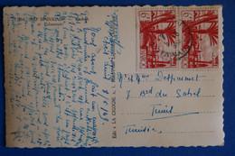 L15 MAROC  BELLE CARTE 1949 POUR TUNIS + PAIRE DE T.P + AFFRANCH. PLAISANT - Briefe U. Dokumente