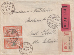 """FRANCE : PA . N° 145 . 2 EX . TYPE MERSON . REC . """" PARIS """" . POUR L'AUTRICHE . 1931 . - Covers & Documents"""