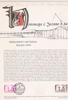 Document 1er Jour Hommage à Jeanne D'Arc Monument National Rouen 1979 - Lettres & Documents