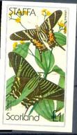 1982 Staffa Fauna Insectos Mariposas 1 Block IMPERFORADO - Mariposas