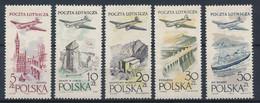 POLEN / POLAND / POLSKA  -  1958  ,   Flugzeug über Städten U. Landschaften   -  Michel  1080-1084  MNH / ** - Unused Stamps