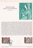 Document 1er Jour Miniature Sur La Musique XVe Siècle - Lettres & Documents