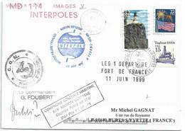 YT 2343 Phare De Split Rock - YT 1708 Drapeau - YT 1839 Tugboat - Posté à Bord Du MD - Escale à Norfolk - 22/06/1999 - Cartas