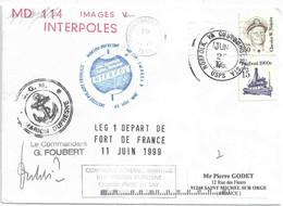 YT 1561 Nimitz - YT 1839 Tugboat - Lettre Postée à Bord Du Marion Dufresne - Escale à Norfolk - 22/06/1999 - Cartas