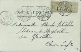 S/ CPA Exposition Universelle 1900 Echoppes Rue Du Rempart Paris YT Sage Je Pense 106 X2 CAD Paris Expo RAPP 17 JUIL 00 - 1877-1920: Periodo Semi Moderno