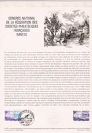 Document 1er Jour Congrès National De La Fédération Des Sociétés Philatéliques Françaises Nantes - Lettres & Documents