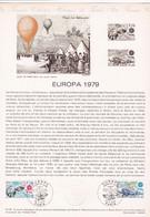 Document 1er Jour Europa 1979 Ballon - Lettres & Documents