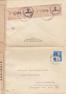 LETTRE SUISSE. 25 4 44. OUVERTE. CONTROLE POSTAL MILITAIRE AXE ET BANDE ALLEMANDE. ALLONDON S.A.LA PLAINE POUR LYON - Briefe U. Dokumente