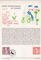 Document 1er Jour Année Internationale De L'enfant - Lettres & Documents