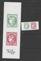 """FRANCE / 2020 / Y&T N° 5450/5453 ** : Les 4 Valeurs Du Carnet """"150 Ans De La Cérès De Bordeaux 1870"""" X 1 (en Paires) - Neufs"""