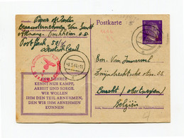 1944 Postkarte 6pf  Naar Burcht - Stempel AC - Censuur - Vlaamse Tekst + Duitse Propaganda Tekst - Dubbele Blanco Ring - Stamped Stationery
