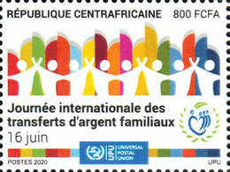 Central Africa  2020 International Day Of Family Remittances. COVID-19 Pandemic OFFICIAL ISSUE 1V - Enfermedades