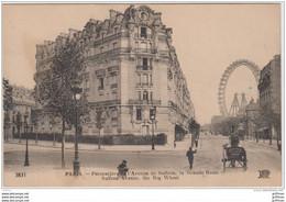 PARIS XVe PERSPECTIVE DE L'AVENUE DE SUFFREN LA GRANDE ROUE TBE - Distretto: 15