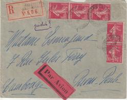 """FRANCE : PA . AFFRANCHISSEMENT A 5,50 Frs . TYPE SEMEUSE . REC . """" MARSEILLE """" . POUR PNOM-PENH . 1931 . - Covers & Documents"""