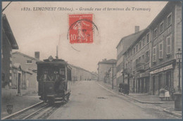 Limonest , Grande Rue Et Terminus Du Tramway , Animée - Limonest