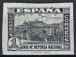 ⭐ Espagne - YT N° 575 A * - Neuf Avec Charnière - Non Dentelé / Noir - 1936 / 1937 ⭐ - 1931-50 Neufs