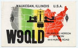 Carte Q.S.L.amateur Radio.W9QLD ( Ex  W8CPH ) Waukegan Illinois 2410 Huron Road.U.S.A.1956. - Radio Amateur