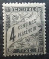 France TAXE Type DUVAL  1881 - 1892, Yvert No 13, 4 C Noir Neuf * MH TB Cote 90 Euros - 1859-1955 Neufs