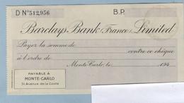 MONACO BARCLAYS BANK (France ) LIMITED - Chèques & Chèques De Voyage