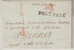 """FRANCE : MP DE FRANCHISE . """" CONSEIL DES ANCIENS """" . EN ROUGE . EN PORT PAYE . 1800 . - 1701-1800: Precursores XVIII"""