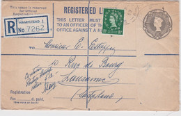 Bt - Entier Postal GB, Registered Letter, 8 Pence 1/2 Penny To Lausanne 1955 - Covers & Documents