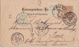 Bt - 3 Kr. Et 2 Kr. -cachets 1886 Triest, Paris étranger, Paris Batignolles , Asnières (Droguerie Laborde à Trieste) - Covers & Documents
