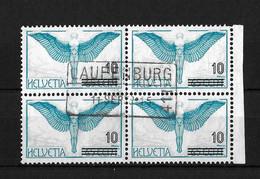 FLUGPOSTMARKEN → Ausgabe 1935-1938 Aufbrauchsausgaben    ►SBK-F22 Viererblock Mit Fahrpoststempel LAUFENBURG◄ - Gebraucht