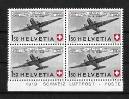 FLUGPOSTMARKEN → Ausgabe 1944 Jubiläumspostmarke 25 Jahre Schweizerische Luftpost   ►SBK-F40** Viererblock◄ - Ungebraucht