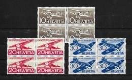 FLUGPOSTMARKEN → Ausgabe 1944 Jubiläumspostmarke 25 Jahre Schweizerische Luftpost   ►SBK-F37**/F38**/F39** Viererblock◄ - Ungebraucht