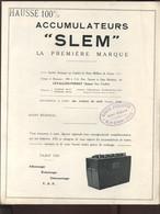 """PUBLICITE - AUTOMOBILE - ACCUMULATEURS """"SLEM"""", LEVALLOIS-PERRET (HAUTS-DE-SEINE) TARIFS 1929 - VOLETS NUMEROTES DE 1 A 7 - Advertising"""