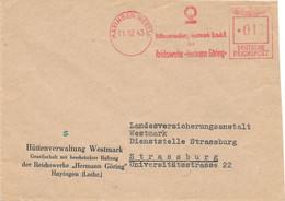 Moselle - EMA HAYINGEN (WESTM) Du 11.12.1943 - Pub Huttenvervaltung Westmark G.m.b.h. - Brieven En Documenten